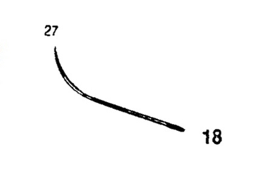 Picture of 27mm, Half Curved Reverse Cutting Suture Needle - Style 102-18