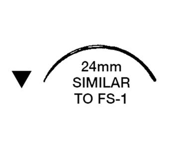 """Picture of 3/0, FS-2, 18"""" Silk Black Braided Suture - B68E"""
